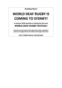 WORLD DEAF RUGBY IS COMING TO SYDNEY